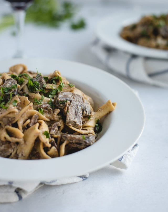 close up picture of bowl of mushroom beef stroganoff