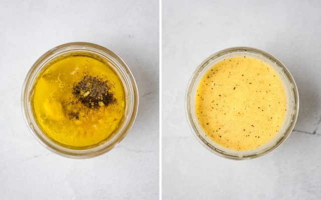 side by side pic of lemon vinaigrette before and after mixing