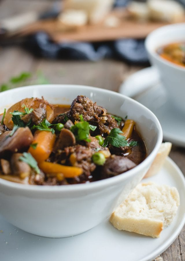 close up picture of bowl of irish beef stew