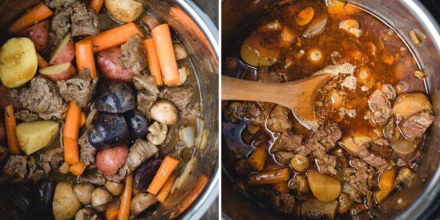 side beside pics of before and after pressure cooking irish stew in an instant pot