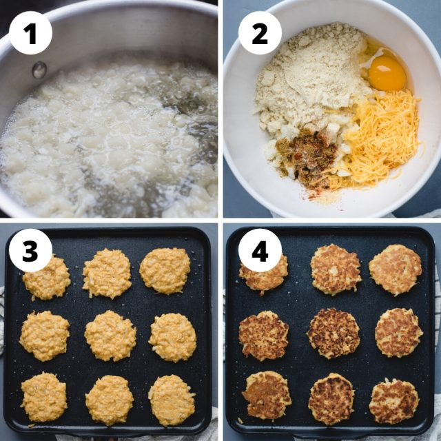Step by step process pictures for making cauliflower patties