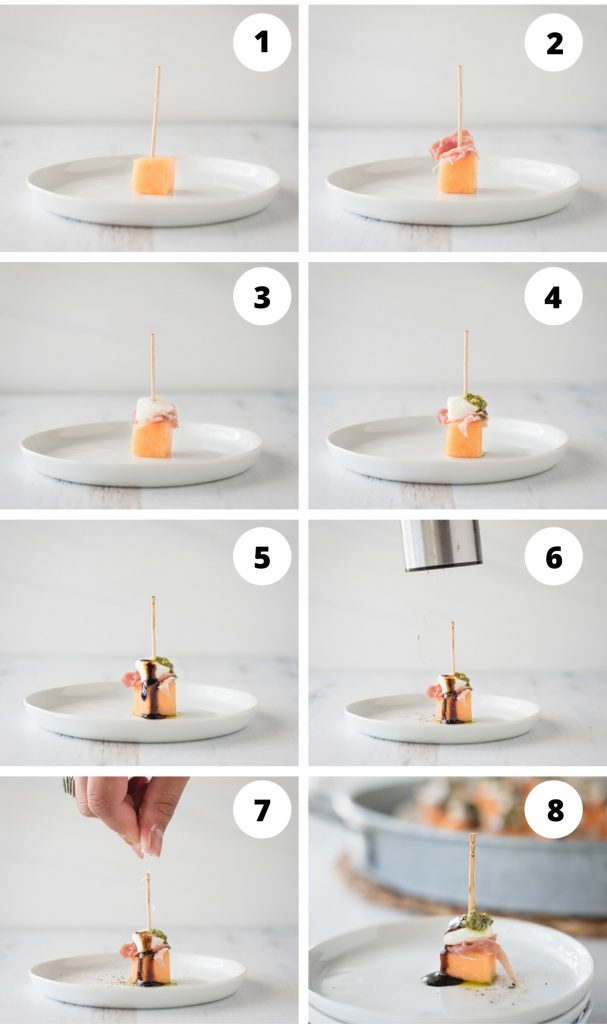 step by step numbered process pictures for showing how to make prosciutto cantaloupe skewers