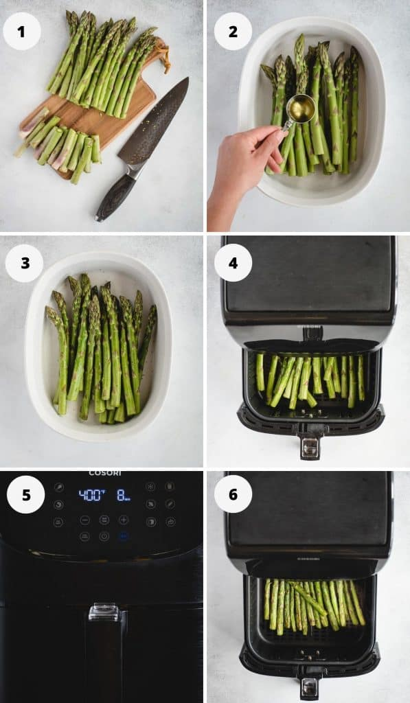 image of numbered process steps for air frying asparagus